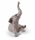 Lladro Baby Elephant With Pink Flower Porcelain Figurine