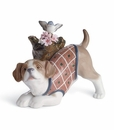 Lladro Blossoms For the Puppy Porcelain Figurine