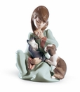 Lladro Cat Nap Girl with Cat & Dog Figurine