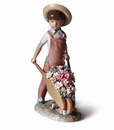 Lladro Child with Wheelbarrow and Flowers Porcelain Figurine