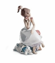 Lladro Chit-Chat Girl - on Phone Figurine