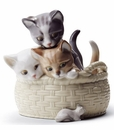 Lladro Curious Kittens Porcelain Figurine