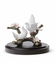 Lladro Doves On A Cherry Tree Porcelain Figurine