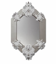 Lladro Eight-Sided Mirror White and Silver