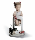 Lladro Fetch My Shoe! Girl in High Chair with Puppy Figurine