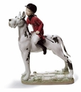 Lladro Giddy Up Doggy! Girl Riding Dog Like a Horse Figurine