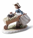 Lladro Girl With A Barrow of Fun Porcelain Figurine