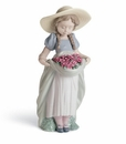 Lladro Girl With Bountiful Blossoms Carnations Porcelain Figurine