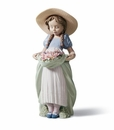 Lladro Girl with Bountiful Blossoms Porcelain Figurine