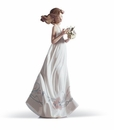 Lladro Girl with Butterfly Treasures Porcelain Figurine