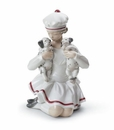 Lladro Girl With Dalmatian Puppies Figurine