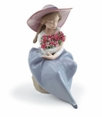 Lladro Girl With Fragrant Bouquet Carnations Porcelain Figurine
