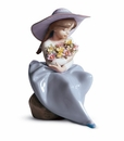 Lladro Girl with Fragrant Bouquet Porcelain Figurine