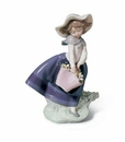 Lladro Girl With Pretty Pickings Porcelain Figurine