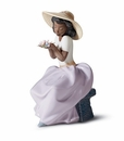 Lladro Girl with Sweet Fragrance Porcelain Figurine