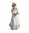 Lladro Happy Birthday Girl With Cake Porcelain Figurine