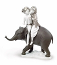 Lladro Hindu Children on Elephant Porcelain Figurine Re-Deco