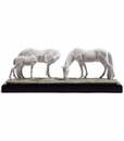 Lladro Horses In the Meadow Porcelain Figurine