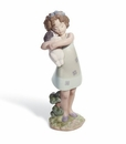 Lladro Learning To Care Girl with Puppy Figurine