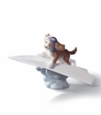 Lladro Let's Fly Away Puppy Porcelain Figurine