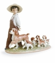 Lladro My Little Explorers Boy with Dog and Puppies Figurine