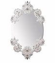 Lladro Oval Mirror Without Porcelain Frame White and Silver