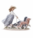 Lladro Puppy Parade Girl with Dogs & Puppies Figurine