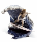 Lladro Riding The Big One! Surfing Figurine