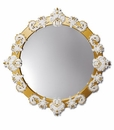 Lladro Round Mirror Large White and Gold