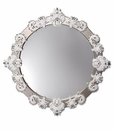 Lladro Round Mirror Large White and Silver