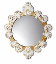 Lladro Round Mirror Small White and Gold