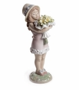 Lladro You Deserve The Best - Girl with Flowers Figurine