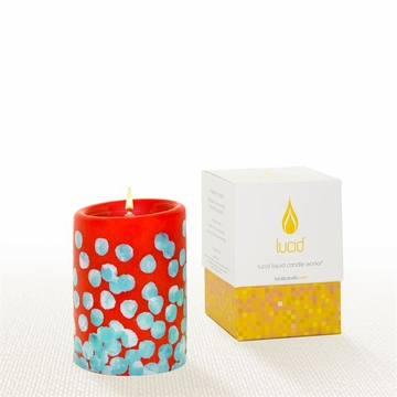 Lucid Liquid Candles -  3x4 Dotty Blue on Kumquat  Pillar Candle