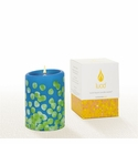 Lucid Liquid Candles -  3x4 Dotty Green on French Blue  Pillar Candle