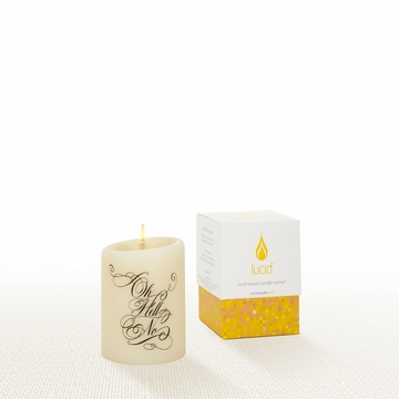 Lucid Liquid Candles -  3x4 Hell No Natural Pillar Candle