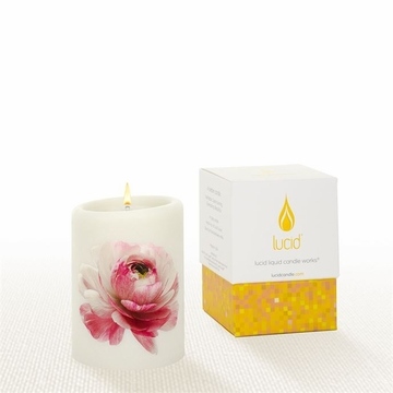 Lucid Liquid Candles -  3x4 Ranunculus on Natural Pillar Candle