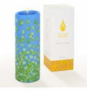 Lucid Liquid Candles -  3x8 Dotty Green on French Blue  Pillar Candle