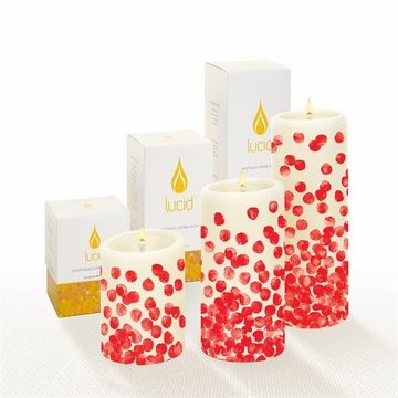 Lucid Liquid Candles Dotty Red 3x4 Pillar Candle