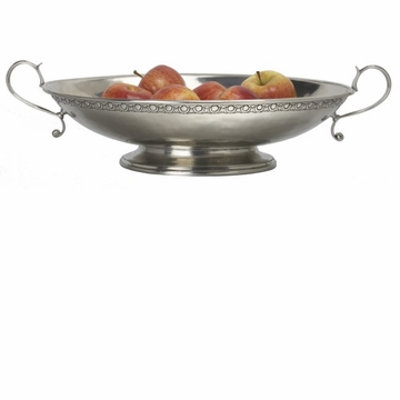 Match Italian Pewter Bordered Oval Footed Centerpiece with Handles