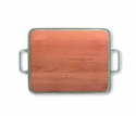 Match Italian Pewter Cheese Tray with Handles Cherry Wood  Medium