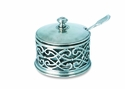 Match Italian Pewter Cutwork Parmesan Dish with Spoon
