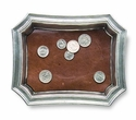 Match Italian Pewter Pocket Change Tray with Leather Insert