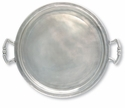 Match Italian Pewter Round Tray with Handles