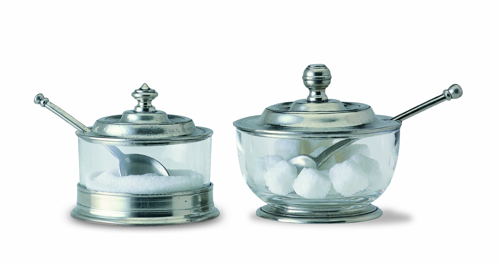 match italian pewter sugar bowl with spoon -