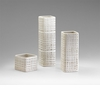 Medium Ceramic White Basketweave Pillar Vase by Cyan Design (Small & Large Vase Sold Separately)