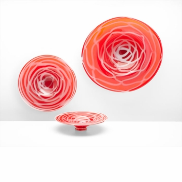 Medium Glass Red & White Plate by Cyan Design