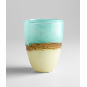 Medium Turquoise Earth Blue Glass Vase by Cyan Design