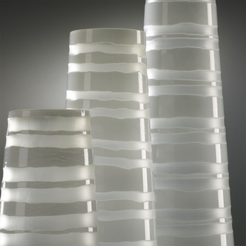 Medium White Striped Glass Vase by Cyan Design (Each Vase is Sold Separately)