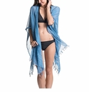 Mer Sea Cotton Tassel Wrap With Bag Ocean (Washed Blue)