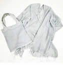 Mer Sea Pool Wrap With Tote Bag - Light Grey Stripes